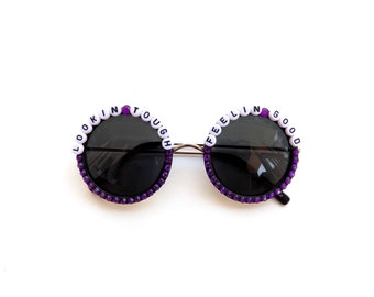 "Turkuaz ""Lookin' Tough, Feelin' Good"" decorated sunglasses, funky embellished festival shades"