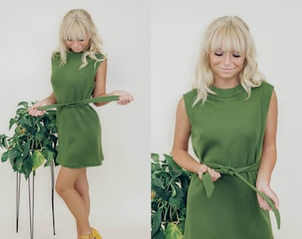 60's Pendleton Green Go-Go Dress
