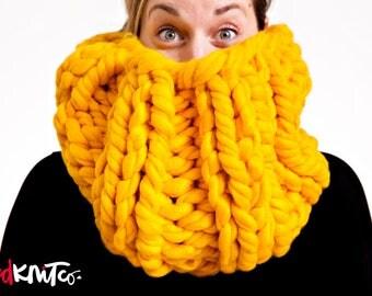MUSTARD Elizabethan Collar Cowl (VEGAN)...vegan hand knit, chunky knit, knit cowl, vegan knit, vegan gift.