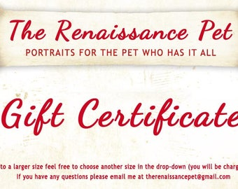 Gift Certificate for one Pet Portrait