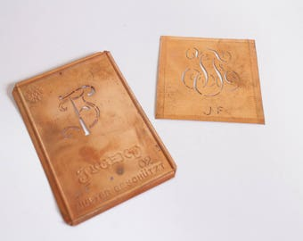 JF monogram Rare Authentic Copper Stencil Vintage Monogram JF  - Set of 2