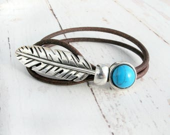 Boho Jewelry-Boho Bracelet-Leather Cuff Bracelet for Women-Turquoise Bracelet-Feather Bracelet-Gift For Her-Bohemian Turquoise Bracelet