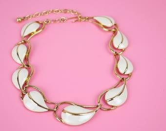 Trifari Enamel Necklace Cream White Gold
