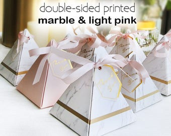 50 pcs (small) Marble & Pink Pyramid Gift Boxes - with Ribbon - Wedding Party Gift Favors, Candy boxes