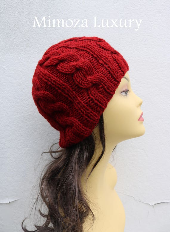 Deep Red women's Beanie hat, Hand Knitted Hat in deep red beanie hat cap, knitted men's, women's beanie hat, winter beanie, red ski hat