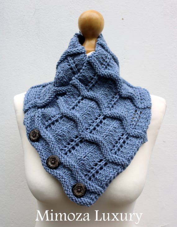 Denim Blue/Grey Merino Wool Hand Knitted Scarf, Knit scarf wrap blue grey Scarf, Shawl, Wrap, Neck warmer, knit scarf, women's knit scarf