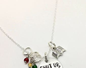 "Heathers Musical Inspired Hand-Stamped Necklace - ""Shut Up, Heather!"""