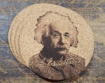 Albert Einstein Cork Coasters (Set of Four)