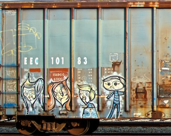 Family Portrait: Train art, graffiti. Frame not included. Individually photographed and printed by Frank Heflin