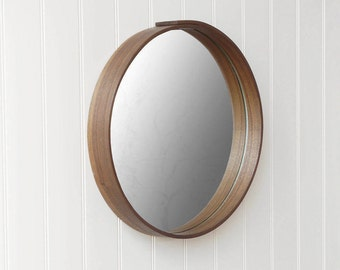 Round mirror, wall mirror, Oak or Walnut Wood