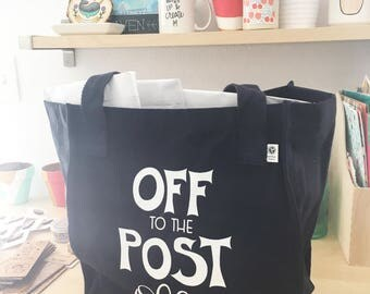 Messenger Mail Bag for Shop Owners, Bag for Shipping Packages, Post Office Bag, Happy Mail Day, Post Office Run, Organic Canvas Tote - NAVY