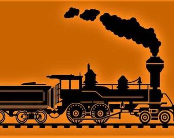 Wall Decal Vinyl Sticker Mural Train Locomotive Railroad Engine