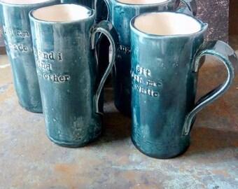 Mug with a special message - tea - coffee - dainty - handmade - ceramic - pottery - poetry - poem