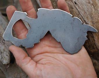 New Jersey State Rustic Steel Recycled Metal Industrial Bottle Opener, NJ Travel Gift, wedding favor, Party gift, beer opener