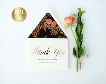 gold foil personalized  thank you cards +  lined envelopes (set of 10) // wedding thank you cards real gold foil pressed stamped card