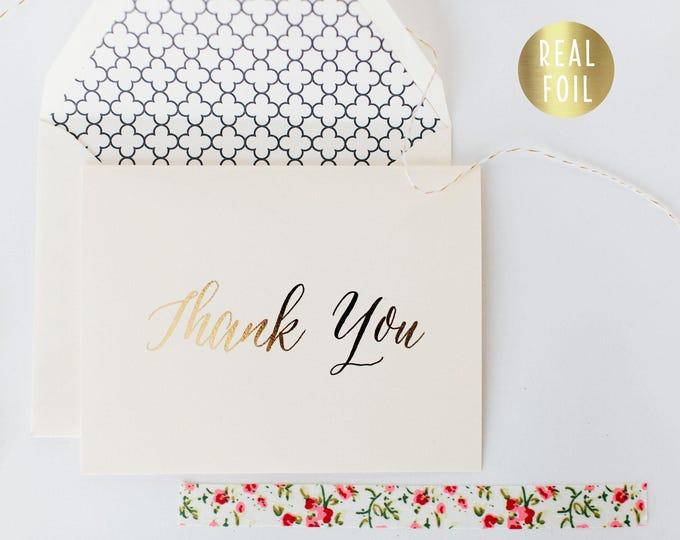 gold foil thank you cards +  lined envelopes (sets of 10) // wedding thank you cards real gold foil pressed stamped card