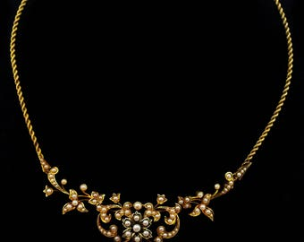 Antique Gold Seed Pearl Necklace Wedding Bride Jewelry Edwardian c1905 gift for her j850