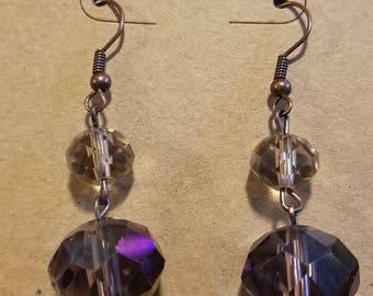 Beautiful Bronze Earthy Crystal Dangle Earrings