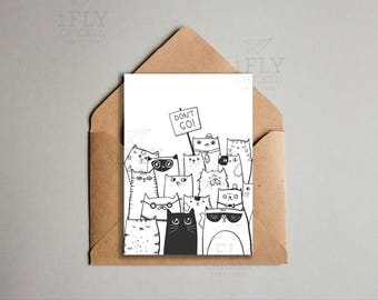 Printable Donu0027t Go Goodbye Cats Greeting Card   From All Of Us   Coworker