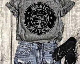 HALLOWEEN BASIC WITCH...Heather Grey Unisex Unbasic Tee, Funny Pet Shirt, Starbucks, Pumpkin Spice, Halloween, Witches, Boos, Coffee, Latte