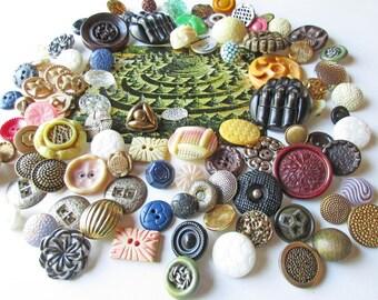 Button Lot, Textured Buttons, 95 Buttons, Vintage Buttons, Chunky Buttons, Button Assortment, Bulk Button Lot, Mixed Media Supply, Destash