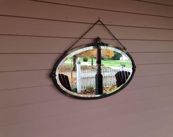 Bevelled Oval Mirror - Metal Frame - Brass Finish - Shop Display
