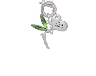 Fairy with Green Wings Charm,RN Custom Engraved Name Ring Toggle Necklace,FamilyHearts-Mom,Aunt,Friend,Grandmother,Wonder Woman,Coach,C3313