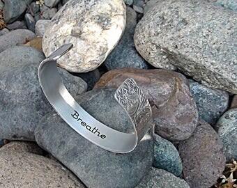 Breathe Bracelet Meditation Yoga Cuff Bracelet Inspirational Jewelry Handmade Gift Personalize Me Custom