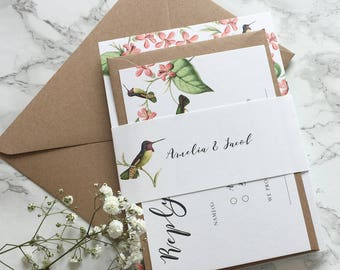 Wedding Invitation Set Humming Bird Wedding Invitation Floral with reply card & belly band Wedding Invitation Suite Watercolour Sample