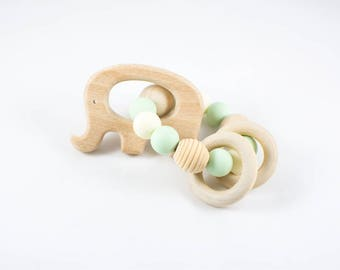 Wooden Teether - Wooden Rattle - Natural Baby Toy - Teething Toy - Elephant Teether - Wooden Elephant Toy - Elephant Rattle