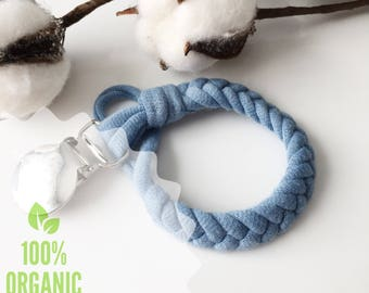NEW!Organic Cotton Braided Pacifier Clip   Boho Organic Cotton Pacifier Clip   Paci Clip   Baby Shower Gift   Binky Clip   Natural Baby Gift