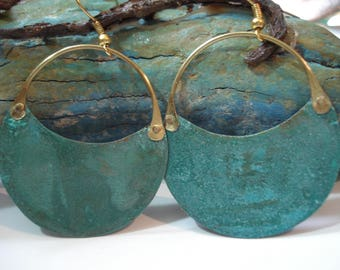 Patina Copper Hoop Earrings Green Blue Verdigris Riveted Earrings Cold Connection Earrings Contemporary Mixed Metal Patina Crescent Earrings