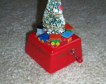 Vintage Schmid ® Musical Collectibles Wooden Christmas Music Box with Tree and Train