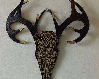 Gold and Black Deer Skull Wall Hanging | Pagan Design | Home Decor | Cool Decoration | Great Gift | Bohemian Decor