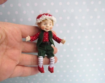 Reserved --- OOAK miniature Fairy, GNOME, Elf doll 1:12 Dollhouse miniature doll POSEABLE. Polymer clay Handsculpt art doll. Artist made