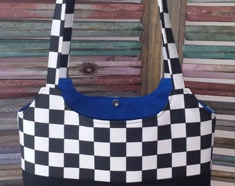 Black and White Checkered Racing Purse Tote