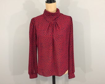 Womens Print Blouses Secretary Blouse Red Blue Long Sleeve Suit Blouse Tulips High Neck Librarian Office Clothing Size Large Womens Clothing