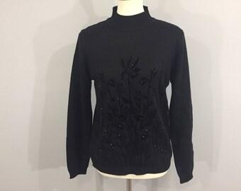 Black velvet sweater | Etsy