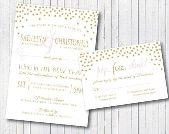 Blush Pink And Gold Confetti New Yearu0027s Eve Wedding Invitation U0026 RSVP Card