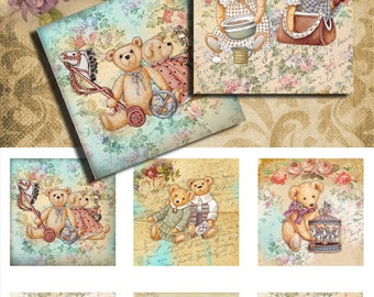 Teddy Bear 38mm square - 1.5 inch  inch square ,mirrors paper good glass pendant magnet hang tags craft instant download
