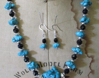 Sedona Turquoise Stones Jet Black Crystals Beads with Sterling Silver Beads Necklace and Earring Set