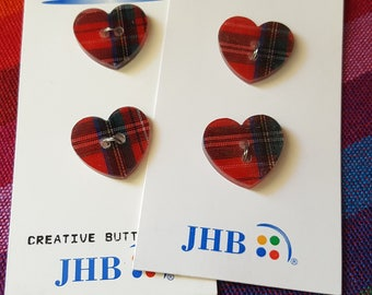 Plaid Heart Buttons! 4 JHB Buttons~Black & Red Polyester Buttons~19 mm 2 Hole Sewing Buttons~Button Art~Kid Crafts~by JewelsandMetals.