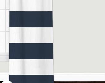 Navy Cabana Stripes Custom Baby & Nursery Curtains | Navy Cabana Stripes Nursery Curtains | Nursery Curtains