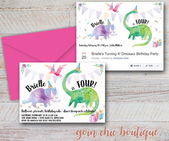 Dinosaur birthday party invitation girl dinosaur party il570xn stopboris Image collections