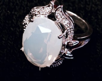 Huge Opalite +  Sterling Silver 925 Statement Ring Size 7