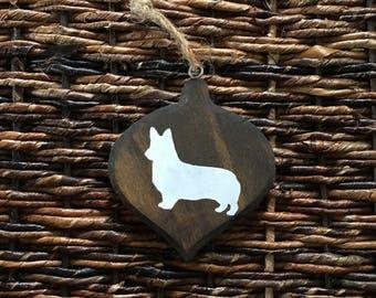 Wooden Dark Walnut Corgi Ornament