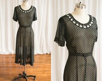 Cross Linked dress | vintage 50s dress | 1940s sheer black rayon print dress | black white print 1950s dress | vintage 40s black dress