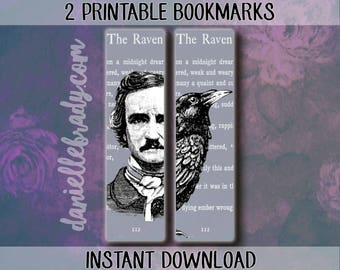 2 Printable Edgar Allan Poe The Raven Bookmarks