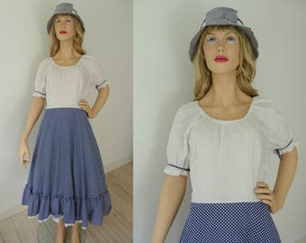 Blue White 70s Polka Dot Vintage Dress // Size 38