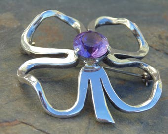 Miguel Melendez ~ Vintage Taxco Sterling Four Leaf Clover / Flower  Pin / Brooch with Purple Amethyst Center